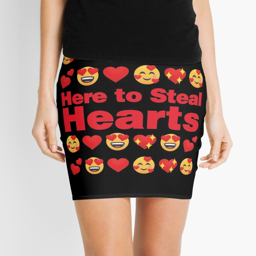 Here to Steal Hearts Emoji Lovely Valentines saying Mini Skirt