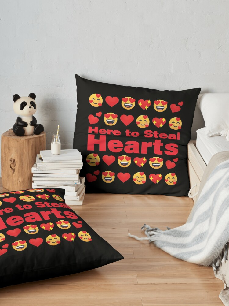 Alternate view of Here to Steal Hearts Emoji Lovely Valentines saying Floor Pillow