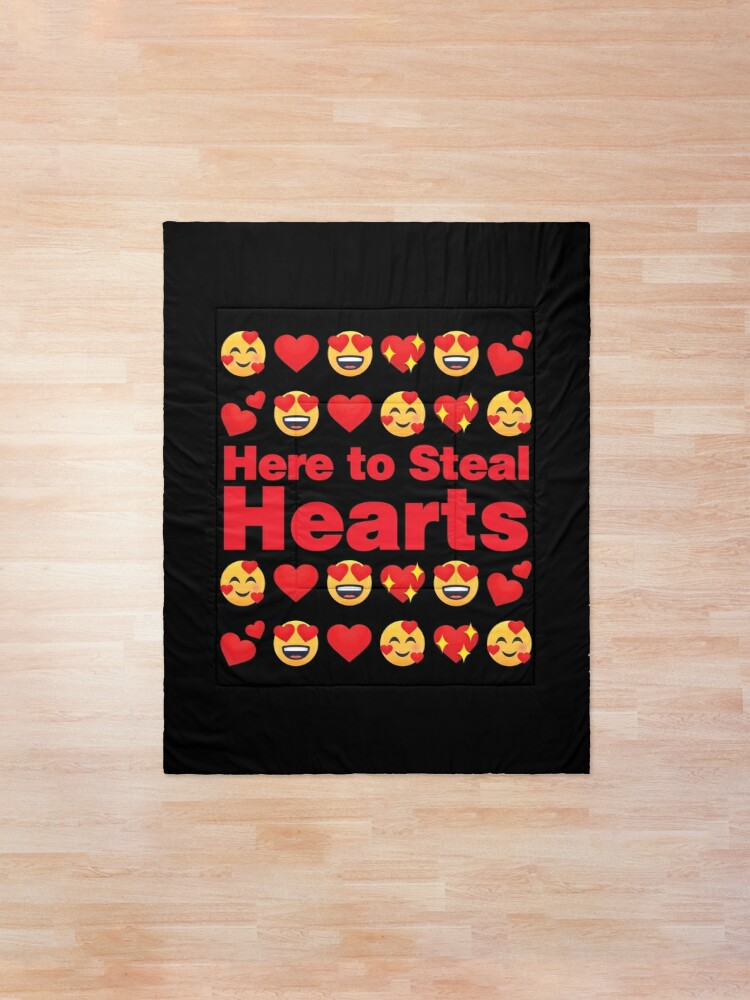 Alternate view of Here to Steal Hearts Emoji Lovely Valentines saying Comforter
