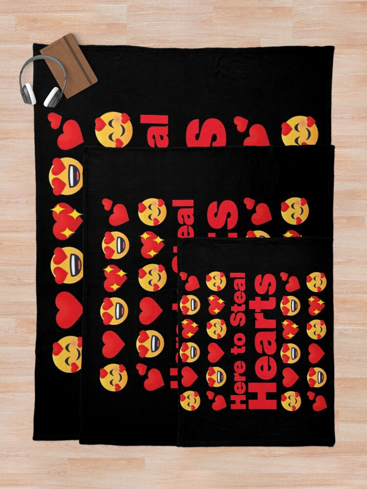 Alternate view of Here to Steal Hearts Emoji Lovely Valentines saying Throw Blanket