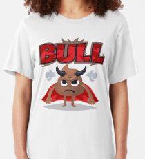 Bull Poo Emoji Funny Cartoon Animal Slim Fit T-Shirt