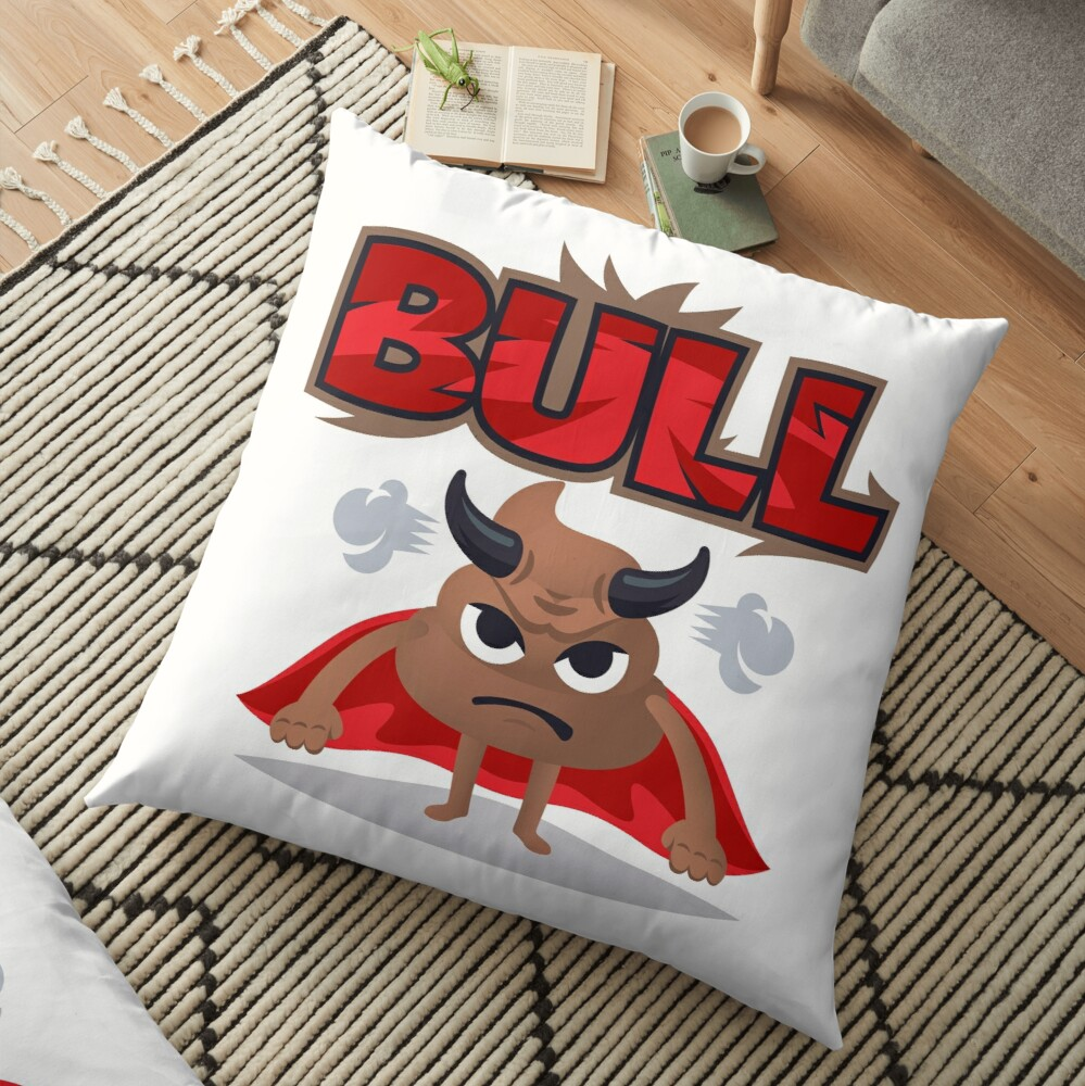 Bull Poo Emoji Funny Cartoon Animal Floor Pillow