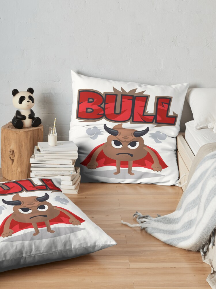 Alternate view of Bull Poo Emoji Funny Cartoon Animal Floor Pillow