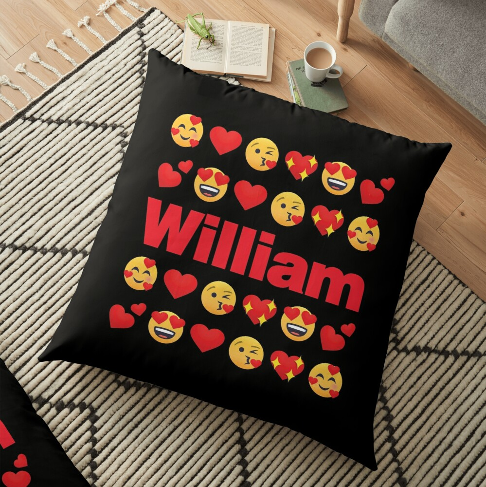 William Emoji My Love for Valentines day Floor Pillow