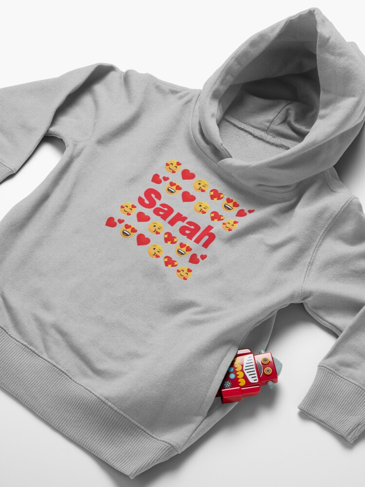 Alternate view of Sarah Emoji My Love for Valentines day Toddler Pullover Hoodie