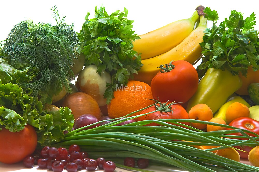 Colorful fresh group of vegetables and fruits by Medeu