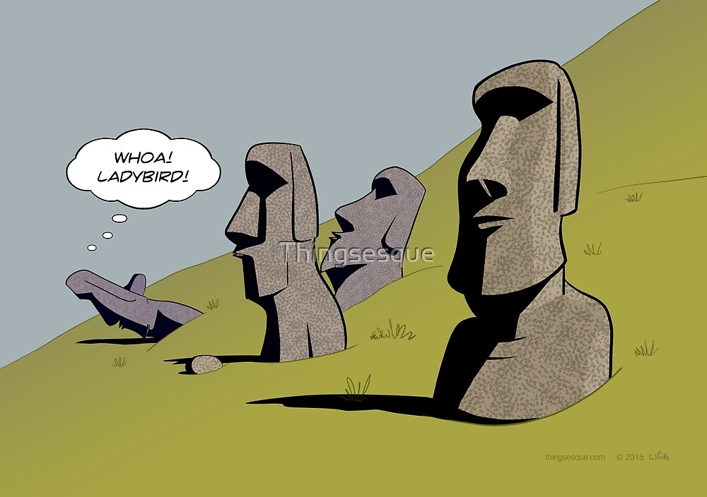 Easter Island Heads - Ladybird Study by Thingsesque