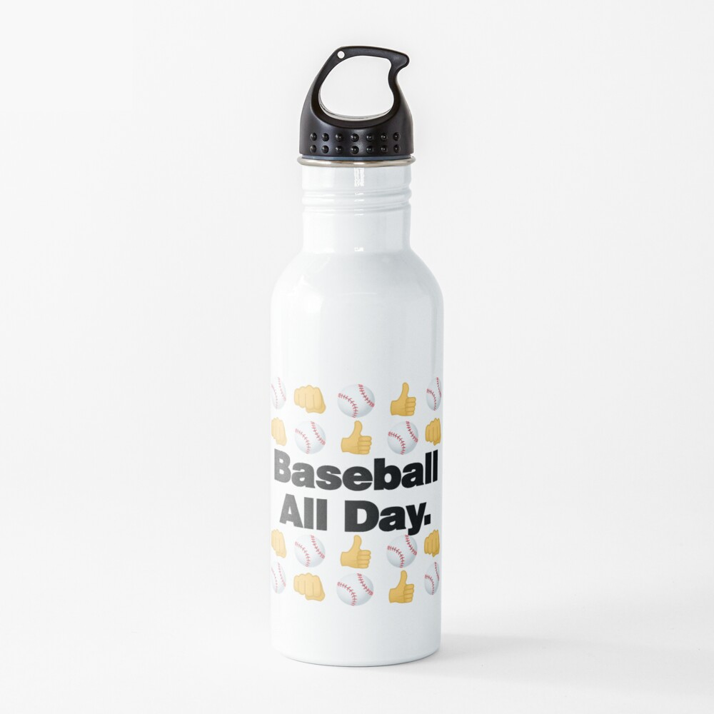 Baseball All Day Emoji Funny Baseball Saying Water Bottle