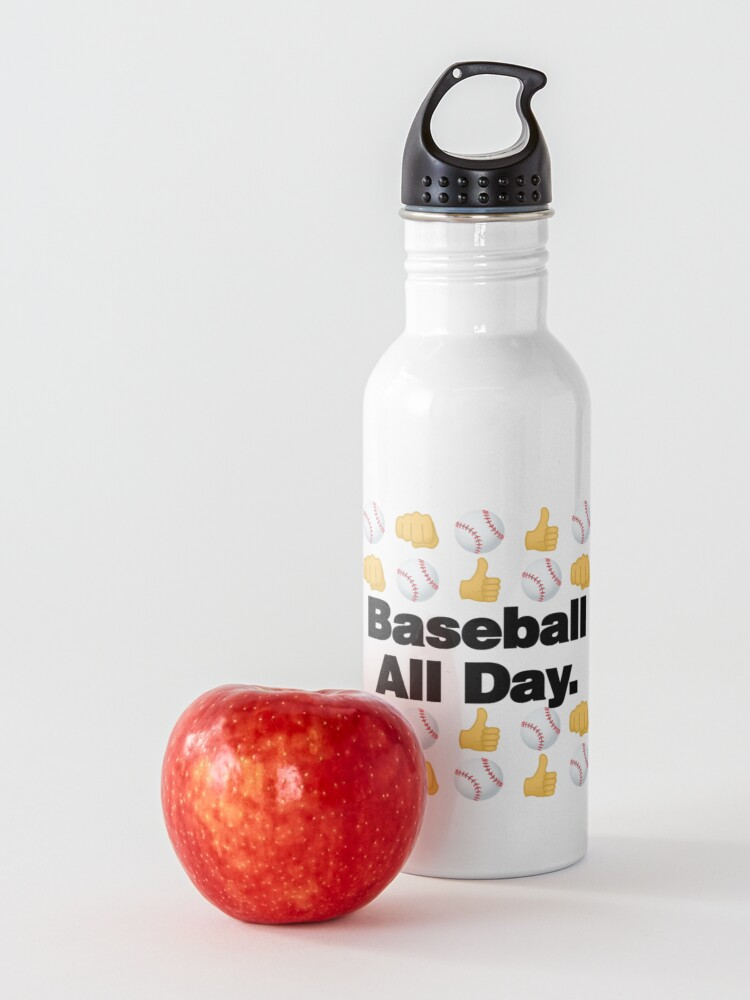Alternate view of Baseball All Day Emoji Funny Baseball Saying Water Bottle