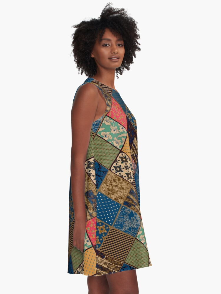 Alternate view of Rustic patchwork, Granny pattern, rustic, patchwork, fashion, folklore A-Line Dress
