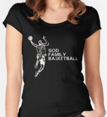 GOD FAMILY BASKETBALL Women's Fitted Scoop T-Shirt