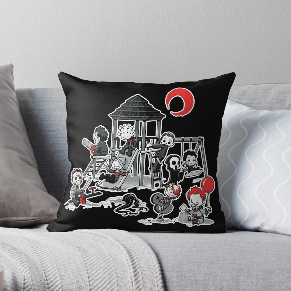 Horror Mashups: Horror Kids Playground Throw Pillow