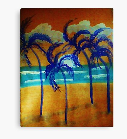 Windy sunset,in the palms on beach, watercolor Canvas Print