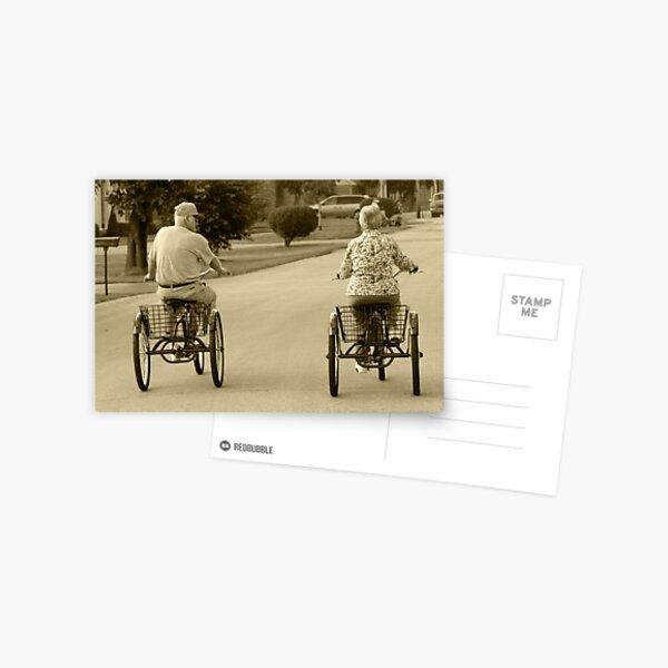 Mom and Dad Bike Riding Postcard