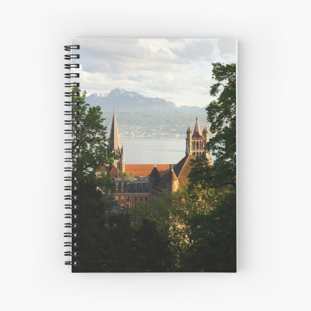 Lausanne Cathedral from Sauvabelin Tower, Lausanne, Switzerland Spiral Notebook