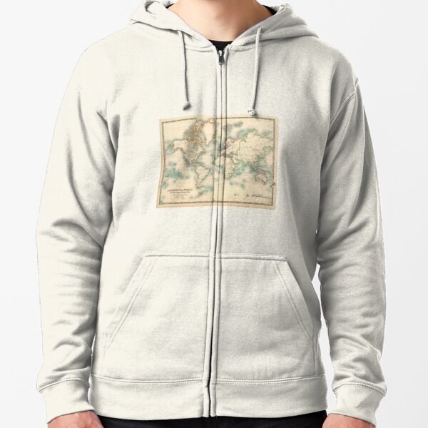 Vintage Historical Detailed World Map Zipped Hoodie