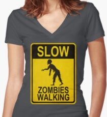 Slow Zombies Walking Women's Fitted V-Neck T-Shirt