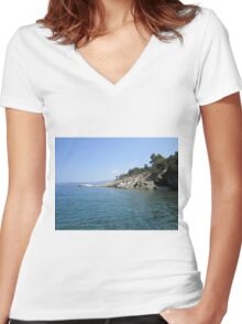 Greek coastline Women's Fitted V-Neck T-Shirt