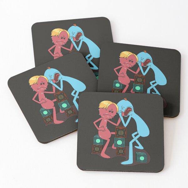 Red VS Blue Mr. Meeseeks Coasters (Set of 4)
