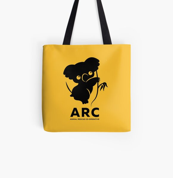 Katie the ARC Koala - we are working hard for you little one - in yellow All Over Print Tote Bag