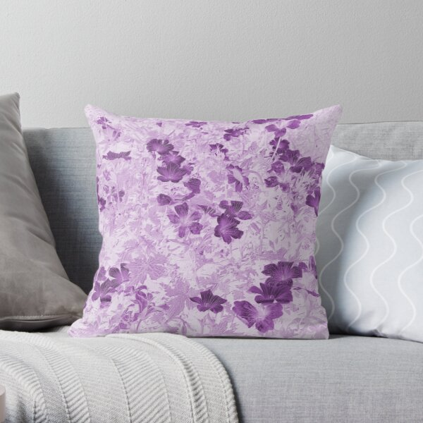 Vintage Style Mauve Flowers Throw Pillow