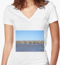 Staithes with boats in the harbour Women's Fitted V-Neck T-Shirt