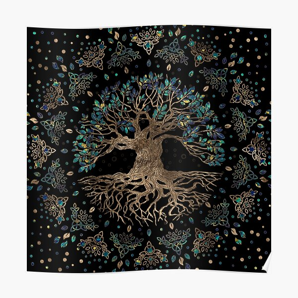 Tree of life -Yggdrasil Golden and Marble ornament Poster