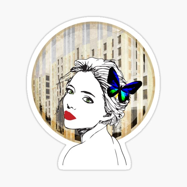 black and white butterfly lady with building in the background Sticker