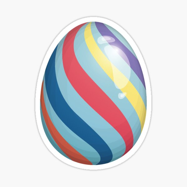 Easter Egg of Blessings | Striped Red Orange Yellow Blue Purple Sticker