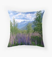 Lupins and Mountains Throw Pillow