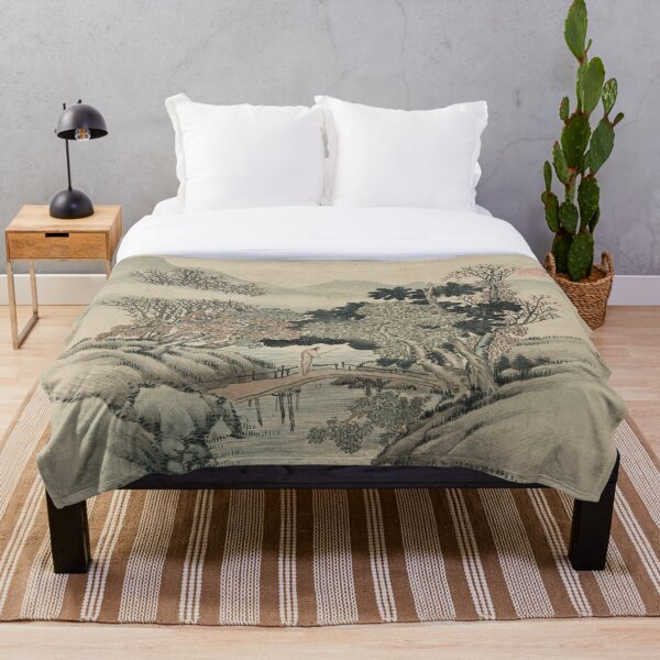Vintage Japanese Landscape Painting Throw Blanket