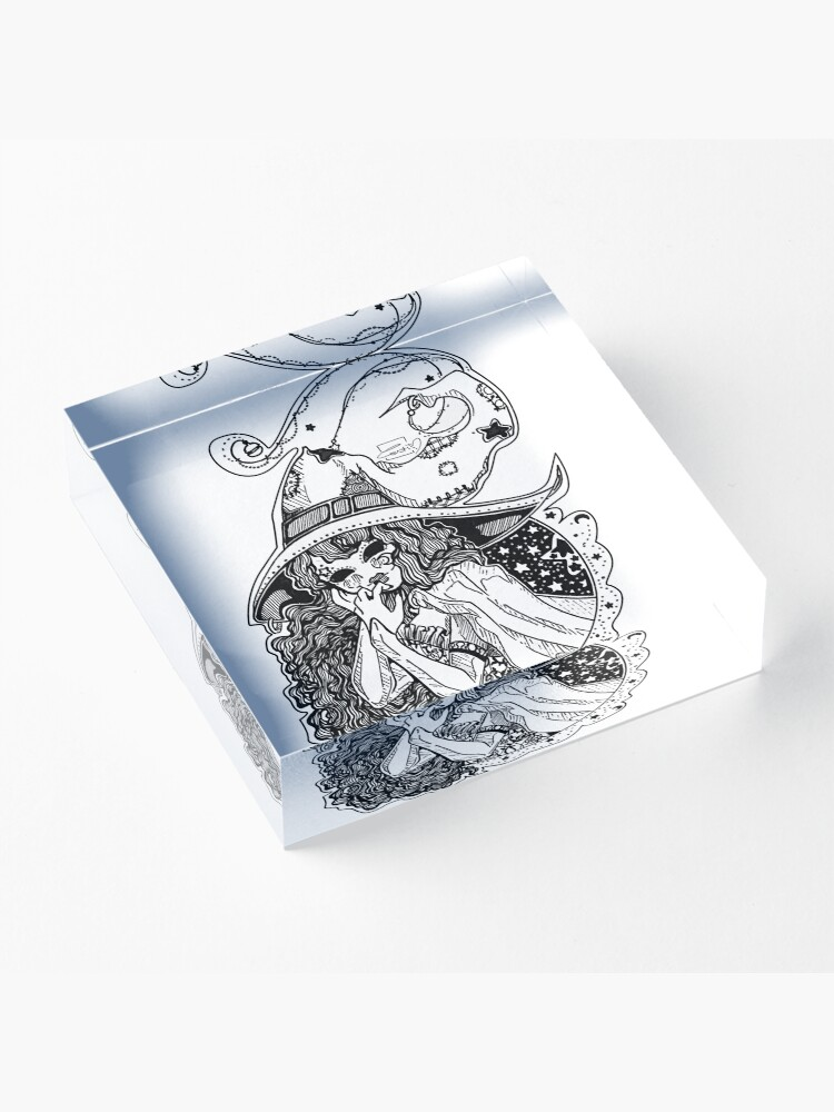 Alternate view of Masked Moon Witch (black and white) Acrylic Block