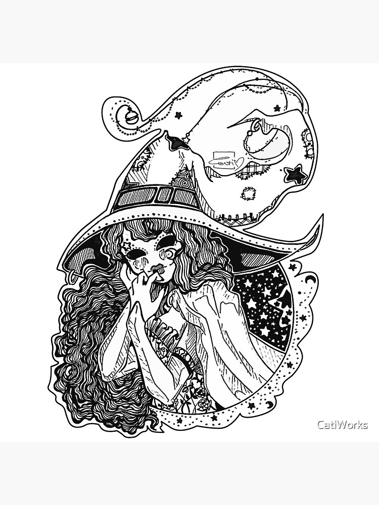 Masked Moon Witch (black and white) by CatiWorks