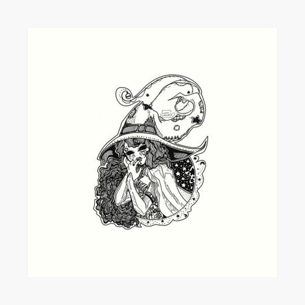 Masked Moon Witch (black and white) Art Print