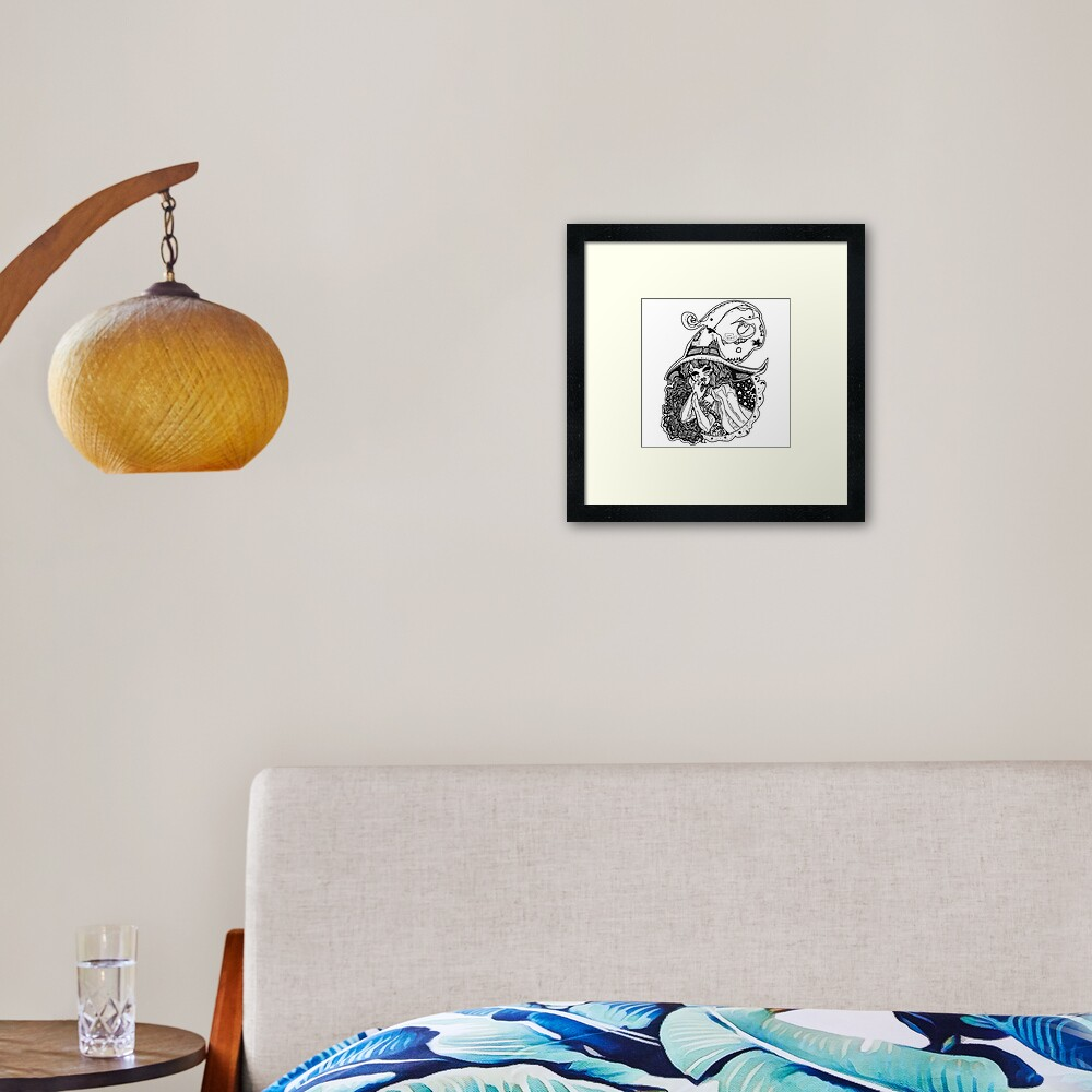 Masked Moon Witch (black and white) Framed Art Print