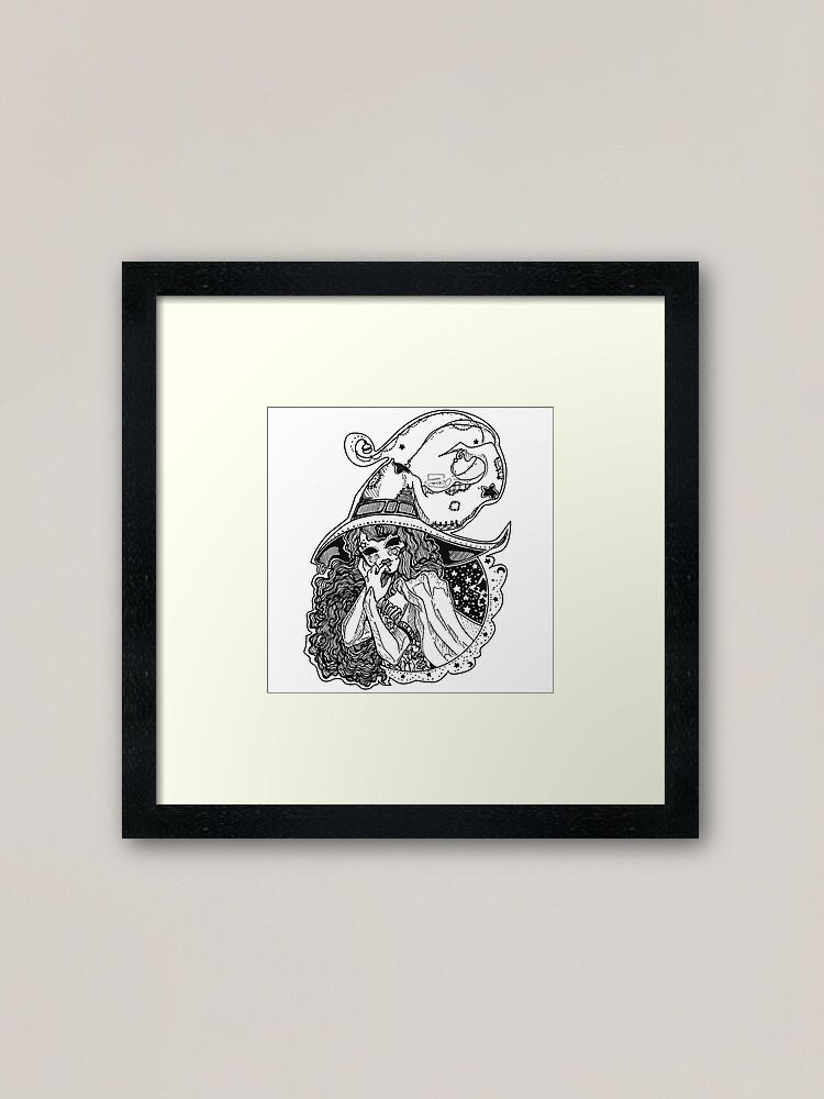 Alternate view of Masked Moon Witch (black and white) Framed Art Print
