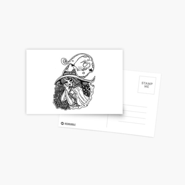 Masked Moon Witch (black and white) Postcard