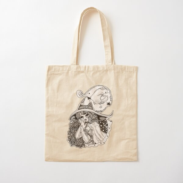Masked Moon Witch (black and white) Cotton Tote Bag