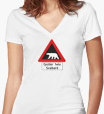 Beware of Polar Bears Sign, Norway Women's Fitted V-Neck T-Shirt