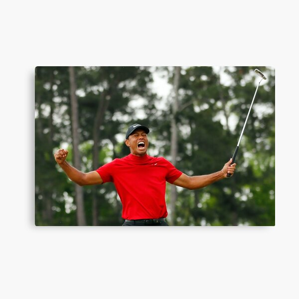 Tiger Woods celebrating his victory at the Masters Canvas Print