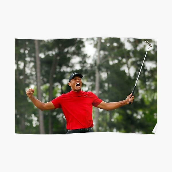 Tiger Woods celebrating his victory at the Masters Poster