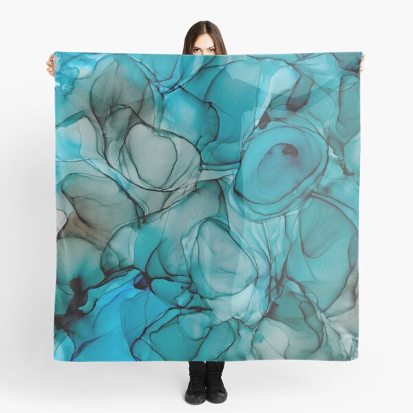 Blue Petals: Original Abstract Alcohol Ink Painting Scarf