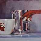 "Espresso Art Original Pastel ""Sweet Maria's Monkey Cup & Pitcher""  by MBurton. by Magaly Burton"