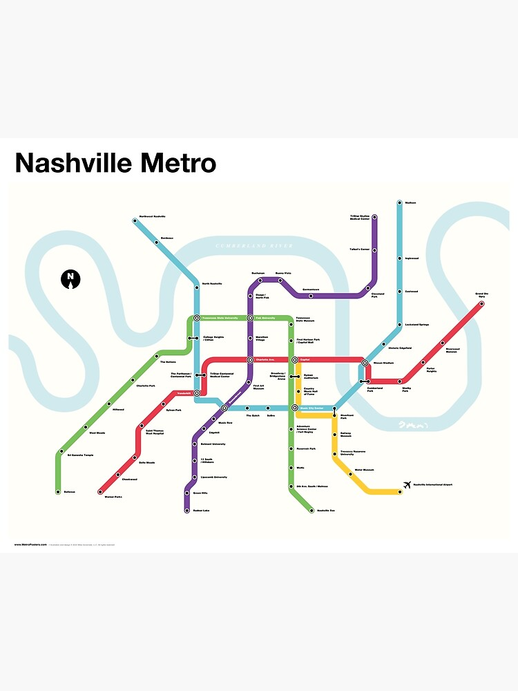 Nashville Metro (Fantasy Subway Map, Nashville, Tennessee) by MetroPosters