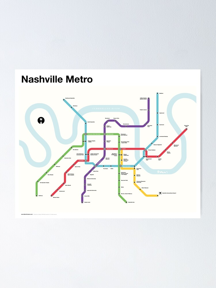 Alternate view of Nashville Metro (Fantasy Subway Map, Nashville, Tennessee) Poster
