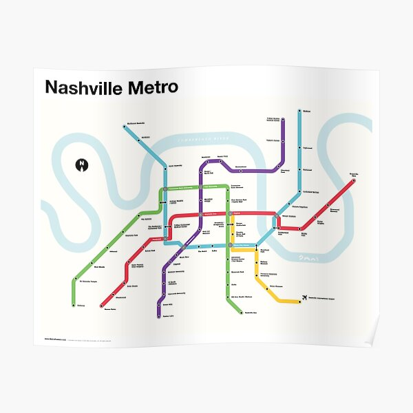 Nashville Metro (Fantasy Subway Map, Nashville, Tennessee) Poster