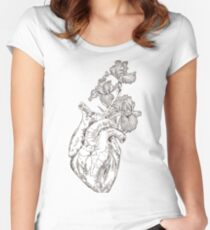 drawing Human heart with flowers  Women's Fitted Scoop T-Shirt