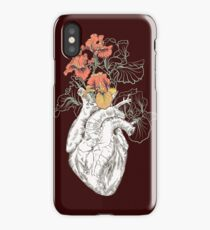 drawing Human heart with flowers iPhone Case