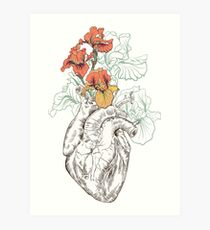 drawing Human heart with flowers Art Print