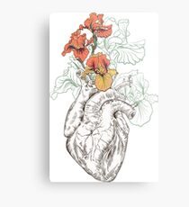 drawing Human heart with flowers Metal Print